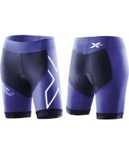 2XU WT2322B-NVY-NTB-XS Dames marine en noorderlicht blauw compressie tri shorts - maat XS